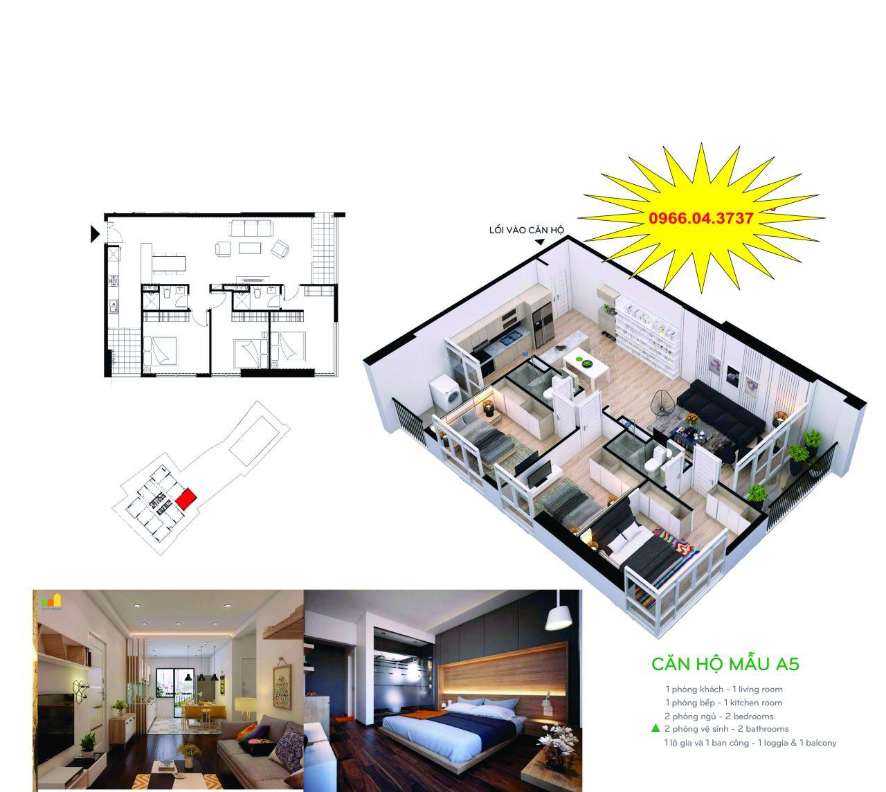 Căn hộ A5 diện tích 102,3m2 – 3 ngủ 2 wc – cửa tây nam, ban công Đông Nam – Đông Bắc.