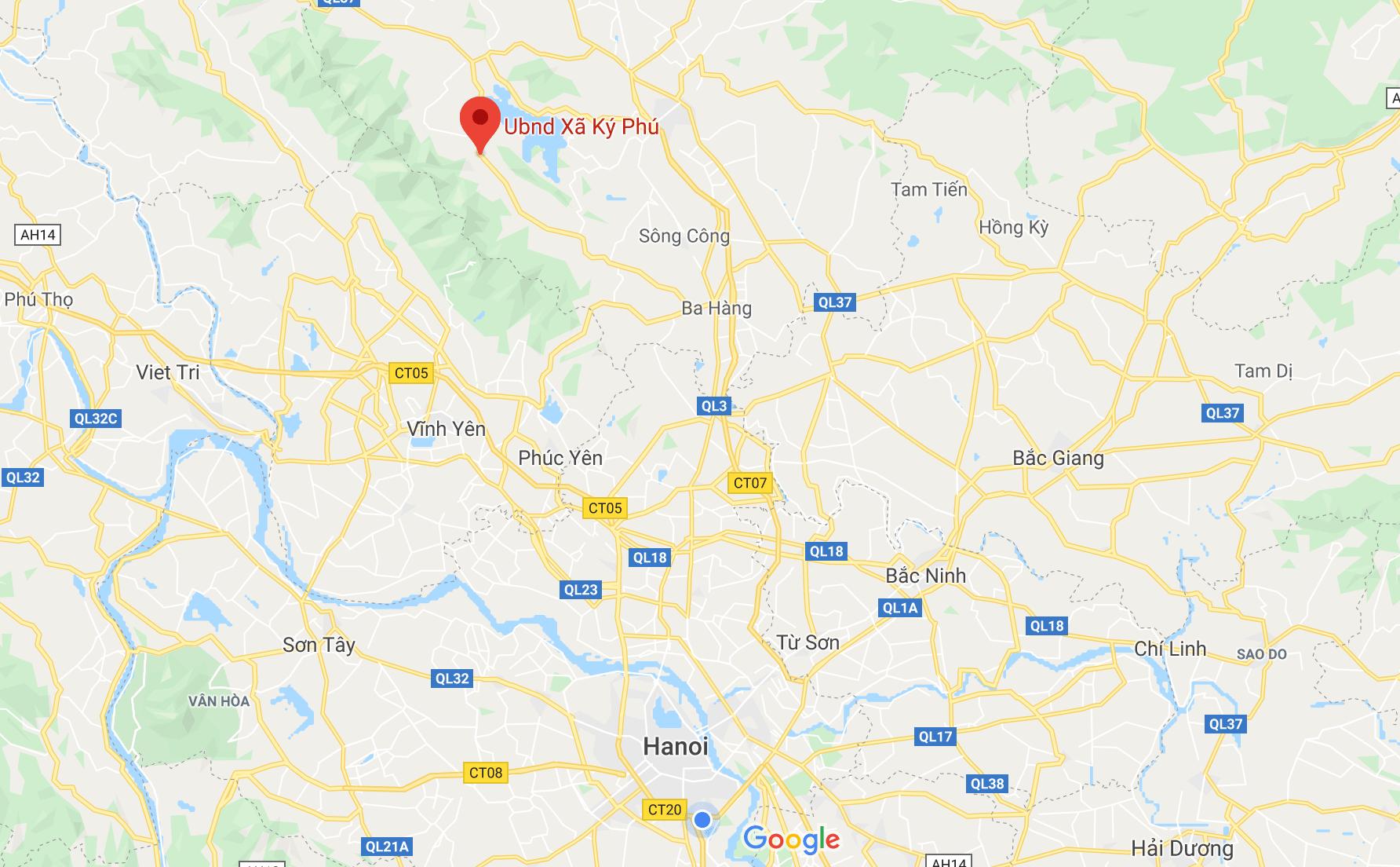 bản đồ liên kết vị trí tại Ký Phú Thái Nguyên