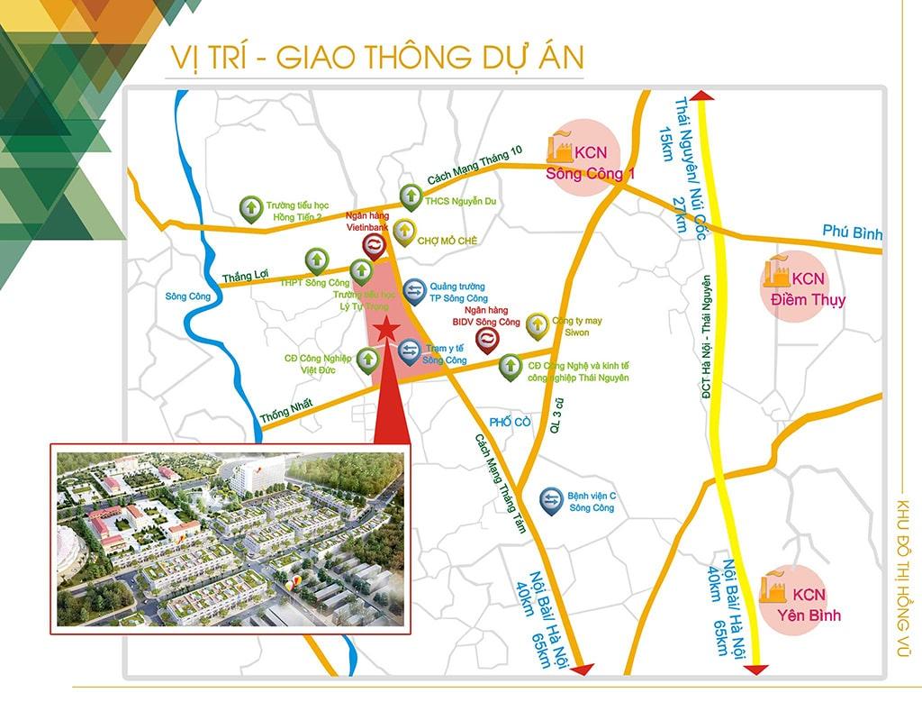 Vị trí khu đô thị Hồng Vũ Sông Công